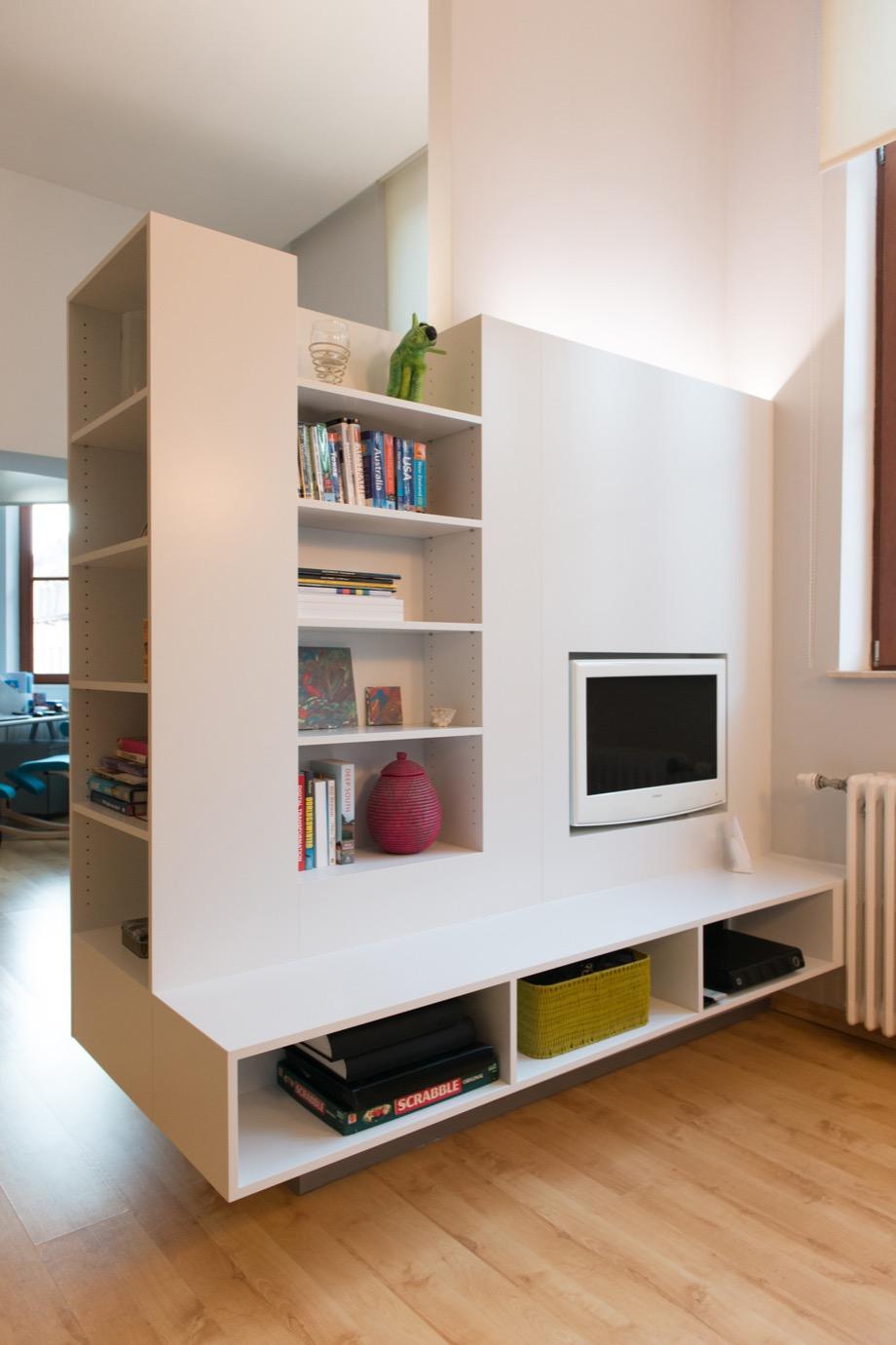 Scheidingswand keuken – zitkamer – Berchem   Kastenlab